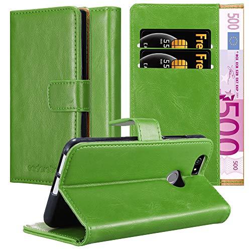 Cadorabo Hülle für Huawei NOVA in Gras GRÜN – Handyhülle mit Magnetverschluss, Standfunktion & Kartenfach – Hülle Cover Schutzhülle Etui Tasche Book Klapp Style