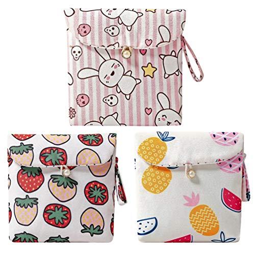 VALICLUD 3 st söta sanitära dynor väska bärbar tecknad tryckt myntväska liten myntväska plånbok för flickor damer kvinnor (blandade färger)