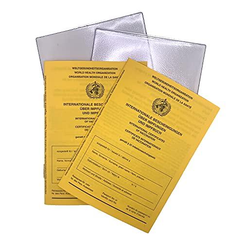 K & M 2021 Internationaler Impfpass, Bescheinigungen über Impfungen im Set 2 x 2er Set, 28 Seiten nach offiziellen Vorgaben der WHO, stabilem Papier, Impfbuch, Impfpass, Schutzhülle im Set.