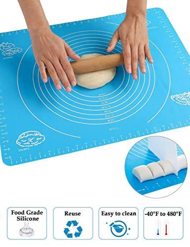 Vianber ONEGenug antislip siliconen bakmatten, kookmat, werkmat met een grootte van 40 × 50 cm, koken anti-aanbaklaag deeg kneedmat voor het maken van taarten, pizza en pizza
