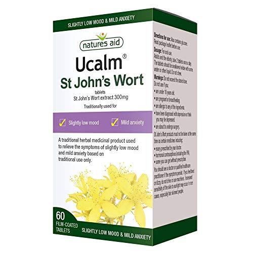 Ucalm St Johns Wort, Relieve The Symptoms of Slightly Low Mood and mild Anxiety, 60 Vegan Tablets
