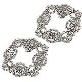 P Prettyia 2 Unids Pinzas de Zapatos Floral Nupcial con Diamantes de Imitación Accesorios de Costura de Manualidades DIY