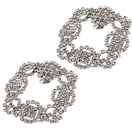 P Prettyia 2 Unids Pinzas de Zapatos Floral Nupcial con Diamantes de...