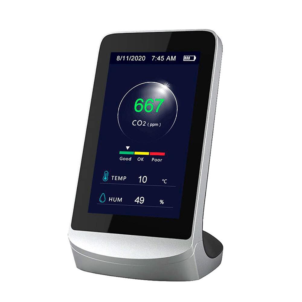 CAMTHON Medidor CO2 homologado a tiempo real, Detector de CO2 profesional portátil, Sensor NDIR de CO2, Medidor Calidad Aire Interior/Exterior, Monitor de Temperatura/Humedad