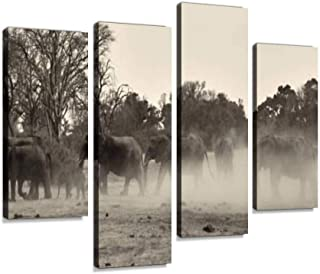 4 Panel herd of african elephants in black and white sunset elephants and Canvas Pictures Home Decor Gifts Canvas Wall Art...