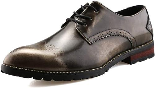 Chaussures Oxford Durable Fashion Oxford Chaussures Pour Hommes Hommes Chaussures Formelles à Lacets Style PU En Cuir Pointe Toe Toe Caché AugHommestation Talon Brogue Carve Chaussures Tête Mode durable  économiser jusqu'à 70% de réduction