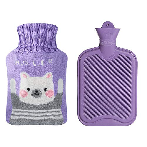 Drizzle Borsa dell'Acqua Calda Bottiglia di Gomma Classica Premium Opaca Con Copertura Carina Borsa dell'Acqua Calda per Notti Accoglienti Sollievo dal Dolore Collo Posteriore 2L (Purple bear)