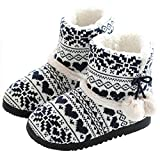 tqgold® Zapatillas de Estar por Casa Mujer Bota Pantuflas Cerradas Invierno Interior Antideslizante Suaves Peluche Bootie Negro Talla 39 40