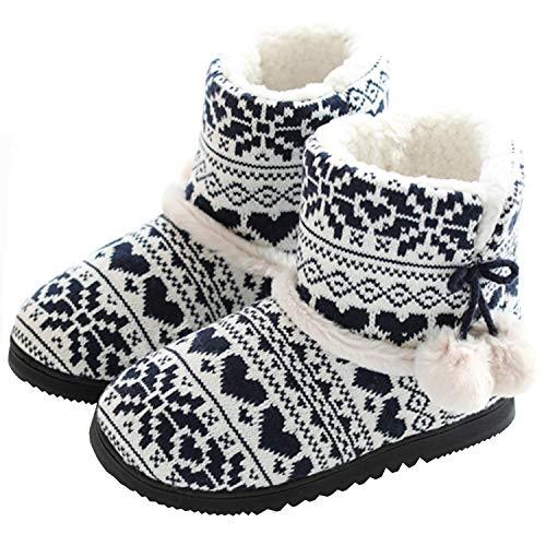 tqgold® Zapatillas de Estar por Casa Mujer Bota Pantuflas Cerradas Invierno Interior Antideslizante Suaves Peluche Bootie Negro Talla 37 38