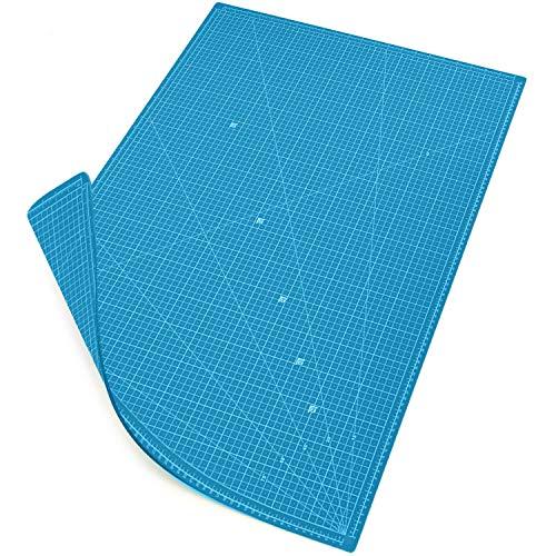 MAXKO Schneidematte 90 x 60 cm, blau, selbstheilend, bediseitig bedruckt, metrische Einteilung/Schneideunterlage/Schreibtischunterlage/ A1/ 90x60/ Winkelmaße 15°