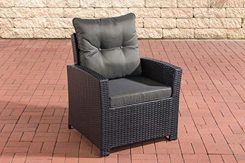 CLP Polyrattan-Sessel Fisolo Mit Sitzkissen I Gartenstuhl Mit Untergestell Aus Aluminium, Farbe:schwarz, Polsterfarbe:Anthrazit