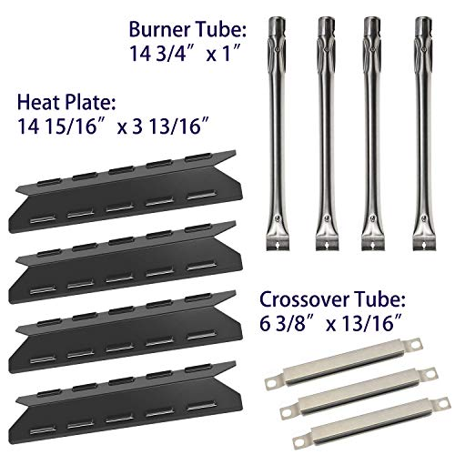 BBQ-Element Grill Heat Plate Tent Shield, Pipe Burner Tubes and Crossover Tube Replacement Kit for Kenmore 146.47223610, 146.46372610, 146.46365610, 146.46366610 Models.