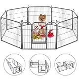 Dog Playpen Large Puppy Pen Folding Exercise Pen Indoor Outdoor Dog Fence with Door Heavy Duty 8 Panels Metal Pet Play Yard for Small Medium Dogs Cats Rabbits