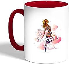 Decalac Womens Day Printed Coffee Mug, Red Color, Ceramic