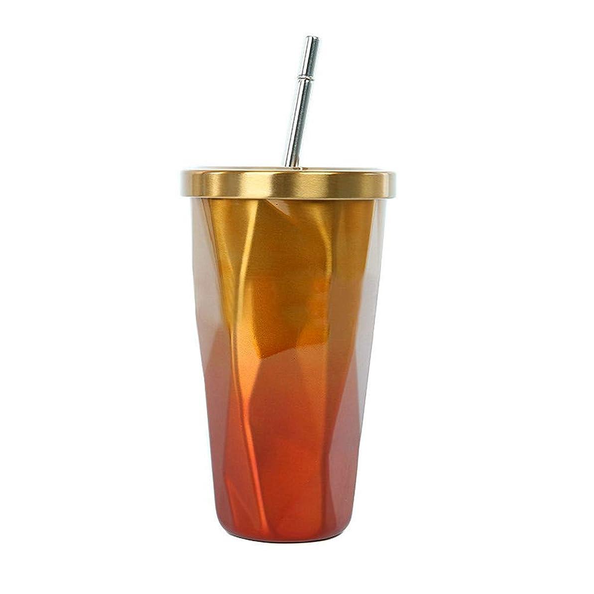 蜂忙しい排除COLOCUP 真空断熱 ストロー タンブラー ふた付き おしゃれ ステンレス 携帯 コーヒー カップ 500ml (オレンジゴールド (SU-02))