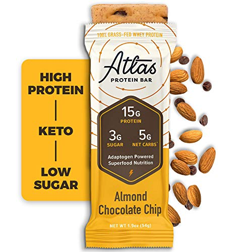 Atlas Bar - Keto Protein Bars, Almond Chocolate Chip - High Protein, Low Sugar, Low Carb, Grass Fed Whey, Healthy Protein, Gluten Free, Soy Free (10-Pack)