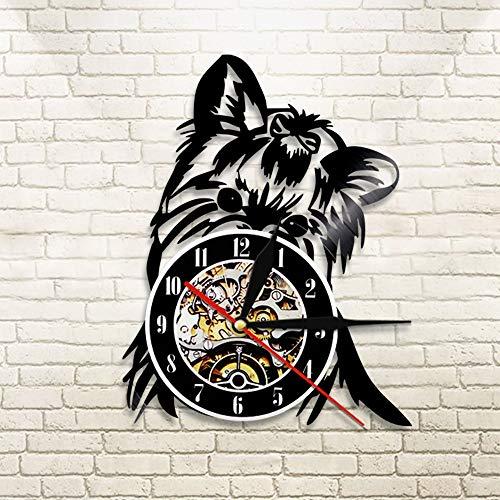 BFMBCHDJ Yorkie Terrier Wanduhr Vintange Hund Silhouette Vinyl Uhr Home Decor Tiere Wandkunst handgemachtes Geschenk für Hundeliebhaber mit LED 12 Zoll