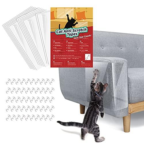 Lewondr 12 Stücke Katze Kratzschutz, Doppelseitig Transparent Kratzfest Klebeband Anti-Kratz-Möbelschutz mit Schrauben, Anti-Kratzer Katzen Couch Schutz für Sofa Tür Möbel Wand - Transparent