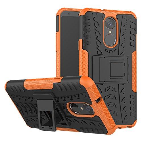 TiHen Handyhülle für LG stylo4/LG Q Stylus Hülle, 360 Grad Ganzkörper Schutzhülle + Panzerglas Schutzfolie 2 Stück Stoßfest zhülle Handys Tasche Bumper Hülle Cover Skin mit Ständer -Orange