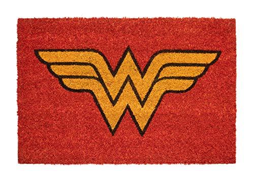 Felpudo Wonder Woman - Felpudo entrada casa antideslizante 40 x 60 cm - Alfombra entrada casa exterior DC Comics, Fabricado en fibra de coco - Productos con licencia oficial