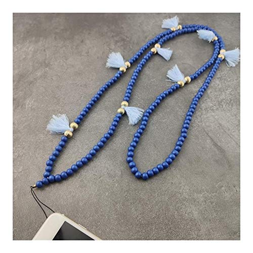 chenran Gift 9 Color Mobile Phone Lanyard Strap Wood Bead Tassel Hanging Neck Rope Telephone Belt Hang Chain Bracelet Accessories (Metal Color : Blue)