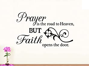 Wall Vinyl Decal Prayer is the Road to heaven but faith opens the door religious inspirational love vinyl quote saying wall art lettering sign room decor