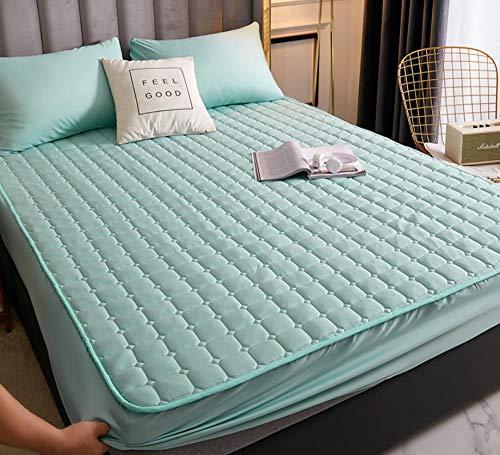 Cubre colchón acolchado de antiácaros,Sábana acolchada Protector de colchón de sábana de cama transpirable engrosada de una sola pieza para evitar que el polvo decore el dormitorio-G_120x200cm+30cm