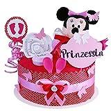 MomsStory - Windeltorte Mädchen | Minnie Mouse Disney | Baby-Geschenk zur Geburt Taufe Babyshower | 1 Stöckig (Rosa-Pink) mit Plüschtier Lätzchen Schnuller & mehr