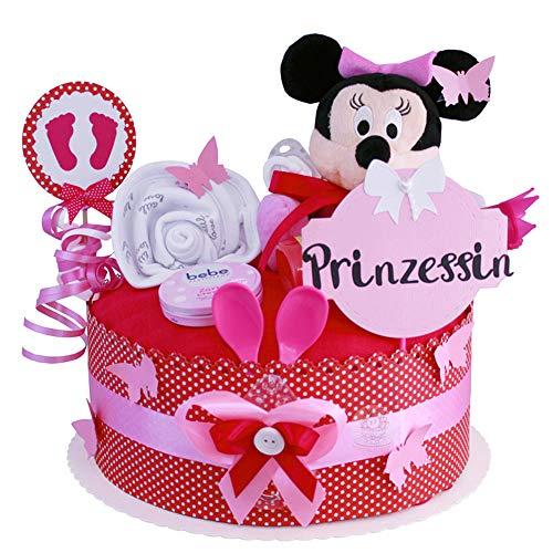 MomsStory – Tarta de pañales, niña, Minnie Mouse, regalo para nacimiento, bautizo, 1 palo (rosa rosa) con babero de peluche chupete y más