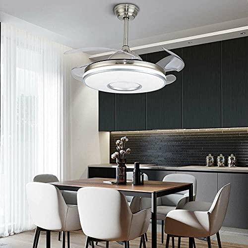 Ventilador de techo retráctil de 100 cm con iluminación LED, luz regulable y mando a distancia, Puede ser cronometrado, 3 colores, 3 velocidades, 4 cuchillas transparentes