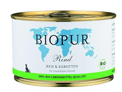 Biopur Bio Hundefutter Rind, Reis, Karotten 400g Glutenfrei, 12er Pack (12 x 400 g)