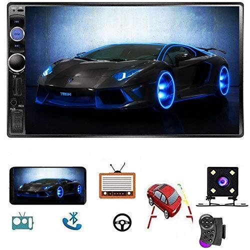 2 Din Touch Screen Car Stereo, 7 Inch Car Radio Head Unit, Support FM Radio Steering Wheel Control&Dual Mirror Link Bluetooth USB+ 4LED Lights Backup Camera