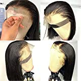 QUINLUX Wig HD Transparent Lace Short Bob Human Hair Wigs Pre Plucked 13X4 Lace Front Wig 150% Density Brazilian Remy Hair Bob Cut Human Hair wig for Woman Natural Color 8Inch