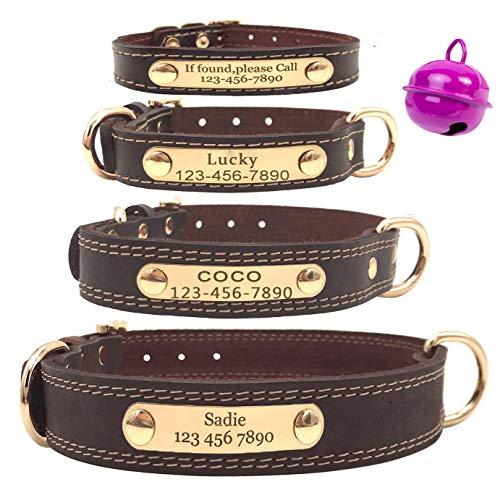 Mihqy Personalisiertes Hundehalsband aus Leder, mit graviertem Namensschild, mit Hundename und Telefonnummer,Persönlichen ID Halsband für Hunde,Für kleine und mittelgroße und große Hunde geeignet