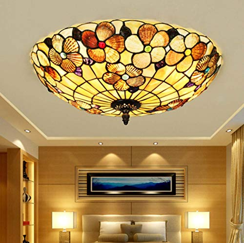 Yjmgrowing Tiffany stijl LED plafondlamp in handgemaakte pastorale rustiek glas in lood Flush Mount verlichting armatuur voor slaapkamer woonkamer plafond lampen, LED Tricolor licht, 110-240V