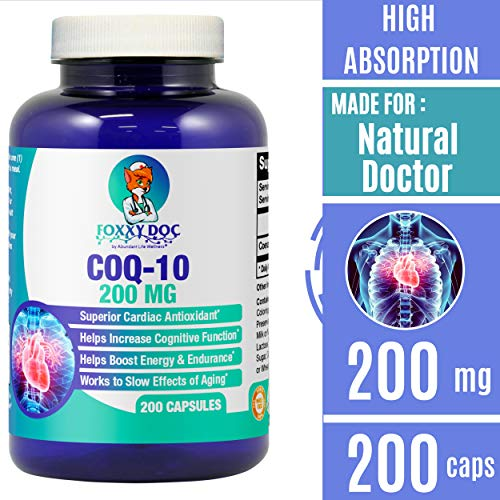 CoQ10 - Co-Enzyme Q10-200 mg - 200 Caps - High Absorption - Vegetable Capsules - Non-GMO - 6.5 Month...