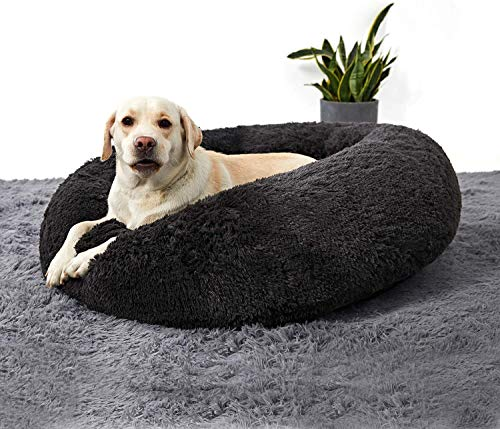 SNFHL Funda Extraíble Soft Dog Bed, Cojín Extra Grande de Piel Artificial para Perros, Almohada para Sofá Cama para Mascotas,XXL-Dark Gray