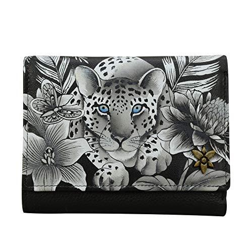 Anuschka Geldbörse, handbemalt, RFID-blockierend, kleine Klappe, französischer Stil, Cleopatra's Leopard