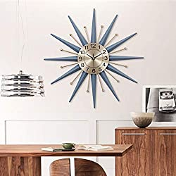 XUEXIONGSP Large Decorative Wall Clock, 28 Round Oversized Wall Clock Silent Non Ticking Battery Operated, Starburst Sunburst Decoration Wall Clock,20in