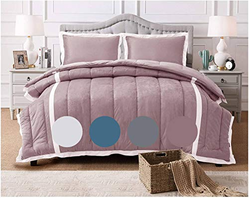 KASENTEX 3 Piece Luxury Goose Down Alternative Comforter Set with Plush Microfiber Stripe Design, Reversible and Machine Washable, Queen with 2 Shams, Orchid Pink