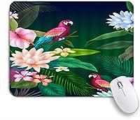HASENCIV ゲーミング マウスパッド,ハイビスカスプルメリアバナナヤシの葉熱帯植物の花,マウスパッド レーザー&光学マウス対応 マウスパッド おしゃれ ゲームおよびオフィス用 滑り止め 防水 PC ラップトップ
