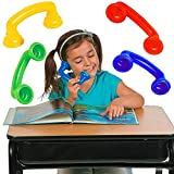 4E's Novelty Whisper Phones for Reading [4 Pack] Auditory Feedback, Hear Myself Sound Phone - Accelerate Reading Fluency, Comprehension & Pronunciation - Speech Therapy Materials Toys