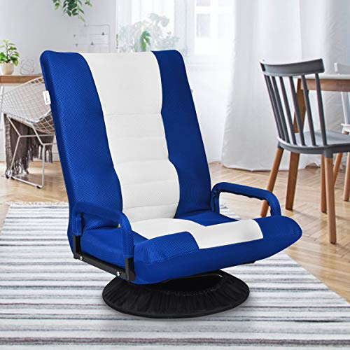 Multigot Floor Lazy Sofa Recliner, 6-Position Adjustable Gaming Chair with 360 Degree Swivel Base, Folding Sofa Chair for Living Room, Bedroom and Office (Blue)