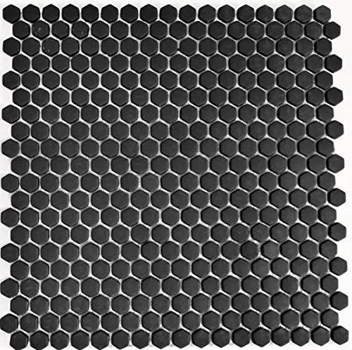 Mozaïek tegel ECO recycling GLAS Hexagon Enamel zwart mat MOS140-HX11B_f | 10 mozaïekmatten