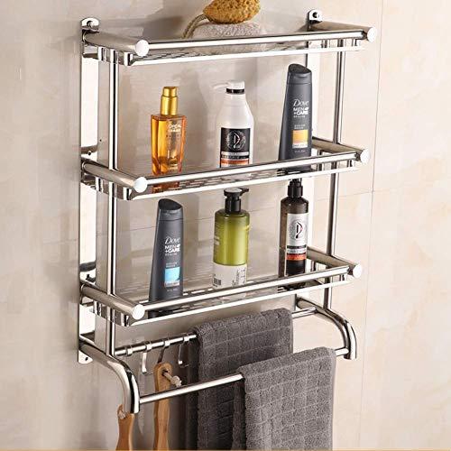 LHSUNTA Badregal Mit Handtuchhalter, Wandregal für Haushaltsbadezimmer mit Mehreren Schichten, Rostfreies Chromregal -626 (Farbe: dreischichtig, Größe: 40 cm)