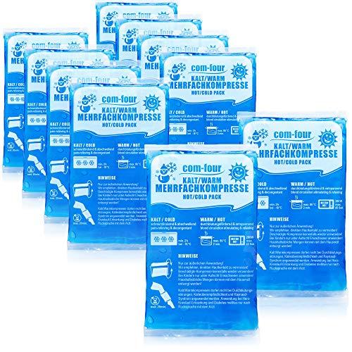 com-four® 10x Bolsa Gel Frio - Compresas frías y Calientes - Bola Frio para Lesiones, 16 x 9 cm - Apto para microondas (10 Piezas - pequeñas)