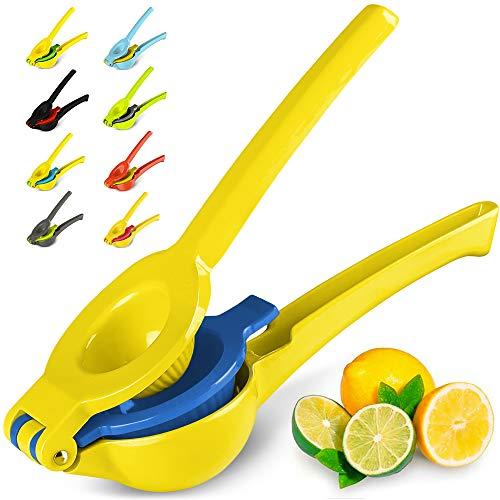 Zulay Premium Quality Metal Lemon Lime Squeezer - Manual Citrus Press Juicer (Aspen Gold and Princess Blue)