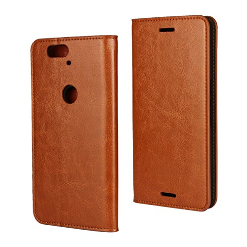 iCoverCase Compatible with Google Nexus 6P Case, Genuine Leather Wallet Case [Slim Fit] Folio Book Design with Stand and Card Slots Flip Case Cover for Google Nexus 6P 5.7 inch (Khaki)