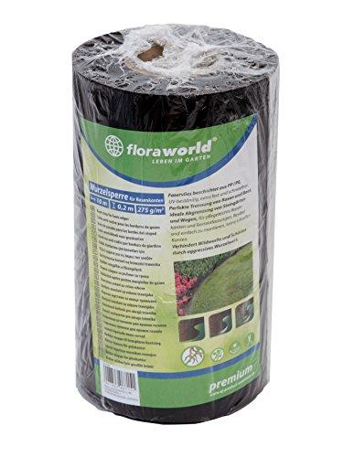Floraworld 012166 Wurzelsperre für Rasenkanten Premium, Schwarz, 1000 x 11,5 x 20 cm