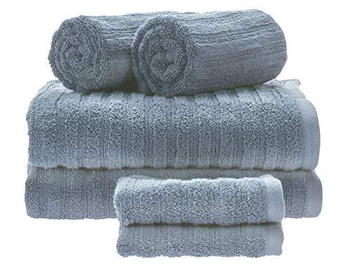 iDesign Juego de 6 Toallas de baño con Lazo para Colgar, Toallas de algodón 100% con Relieve a Rayas, Juego de Toallas con 2 de baño, 2 de Lavabo y 2 de tocador, Azul grisáceo